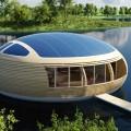Waternest 100: materiali riciclati per la casa in legno galleggiante