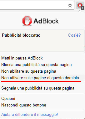 disabilitare ad block